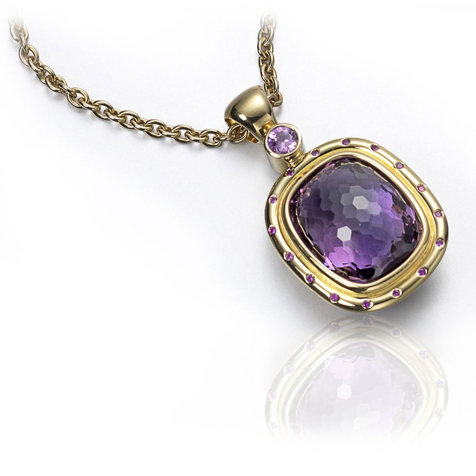 Alison Bradley Reversible Pendant in 18 carat yellow gold set with a large amethyst  £9,800