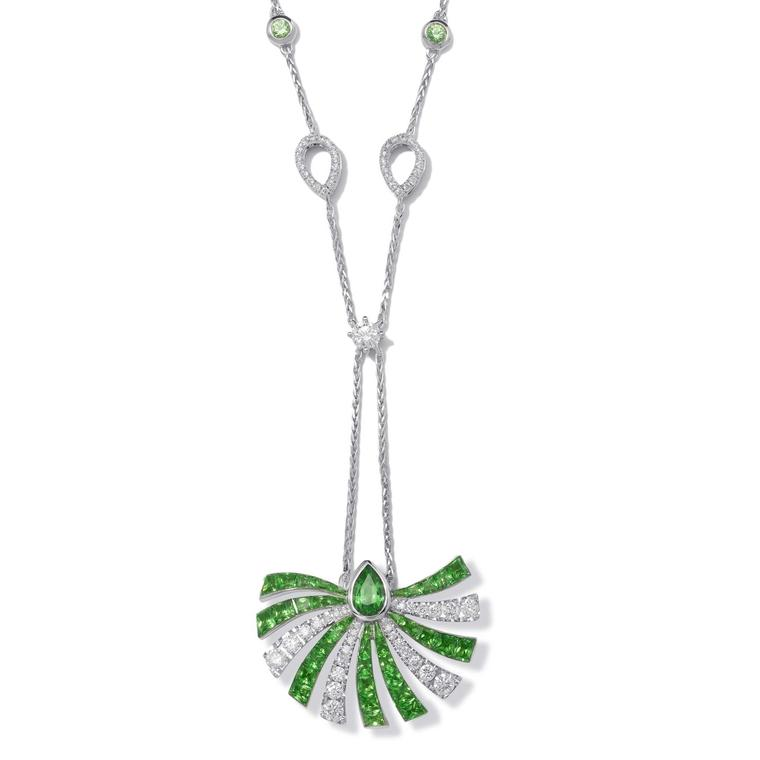 Stenzhorn Persuasion large necklace in white gold with tsavorites and diamonds