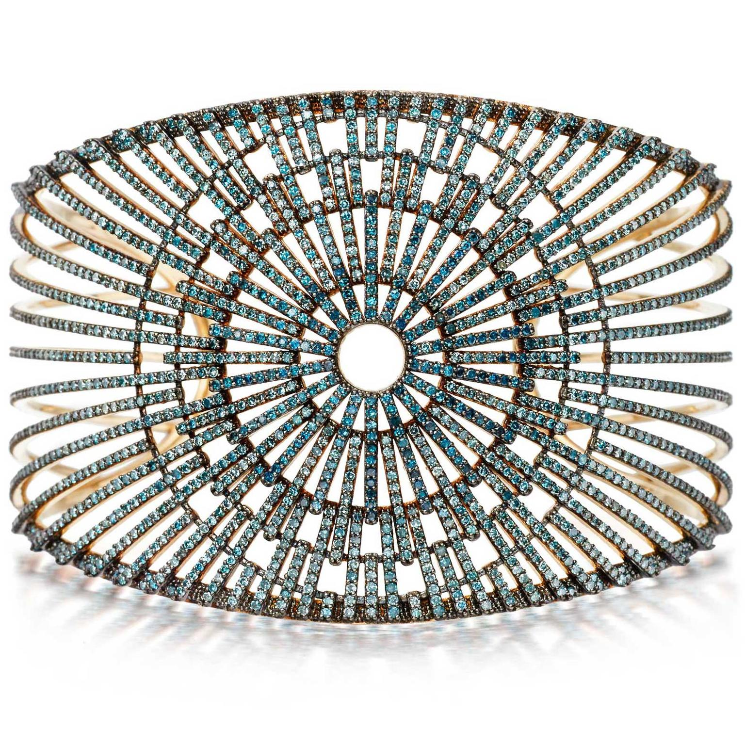 Astley Clarke Firework cuff with blue diamonds from the Rising Sun collection