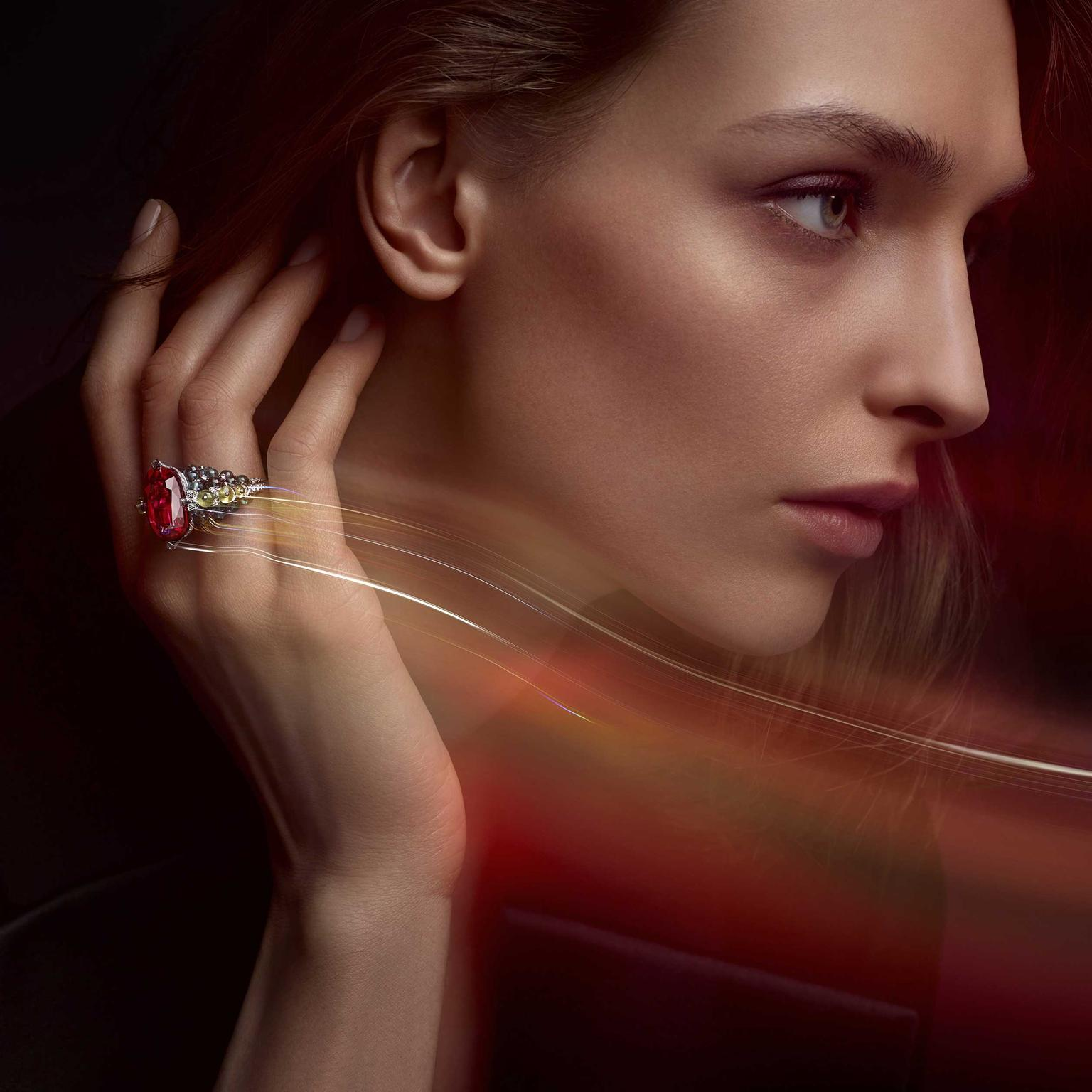 Cartier Holika rubellite, tourmaline and chrysoberyl ring Coloratura collection 2018