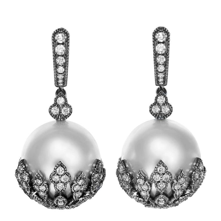 The Botanics earrings from No. THIRTY THREE in 18 carat black gold with white diamonds and South Sea pearls