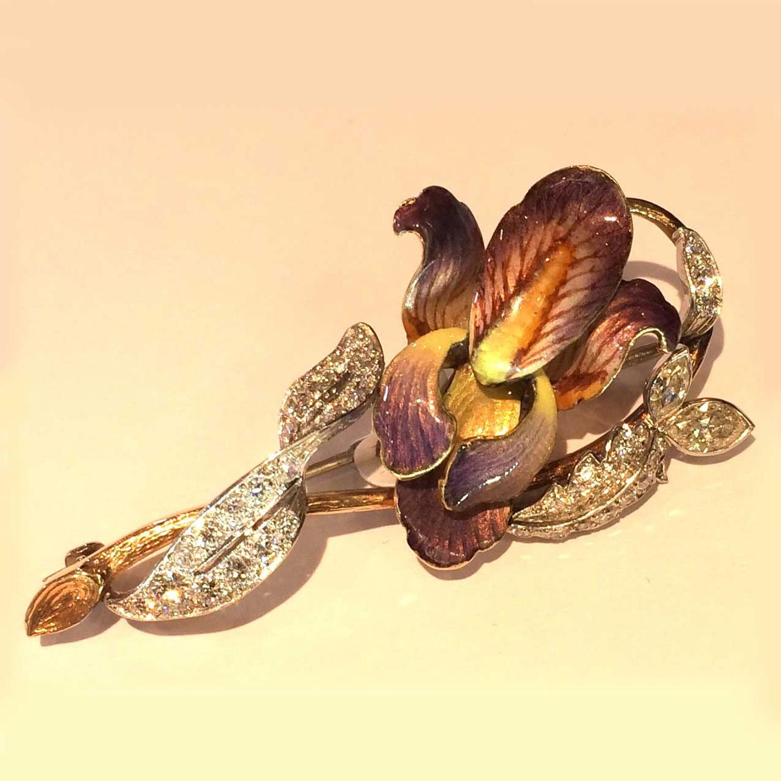 Designs by Irene Art Noveau enamel and diamond orchid brooch