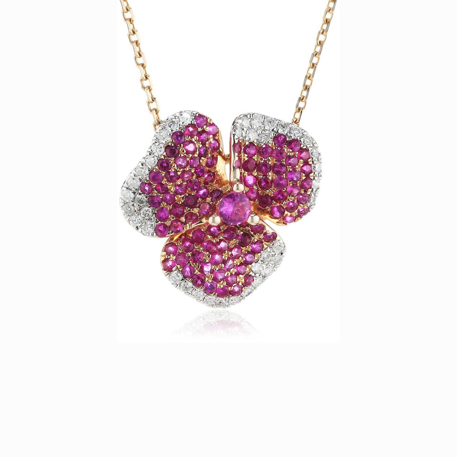 AS29 pink sapphire flower necklace