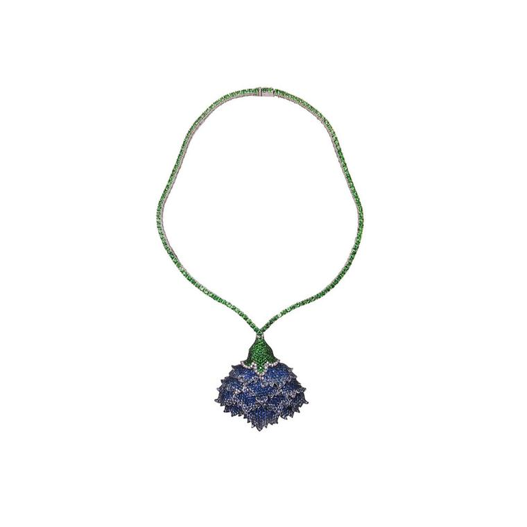 Nisan Ongwuthitham for Plukka white gold, titanium and sapphire lotus necklace
