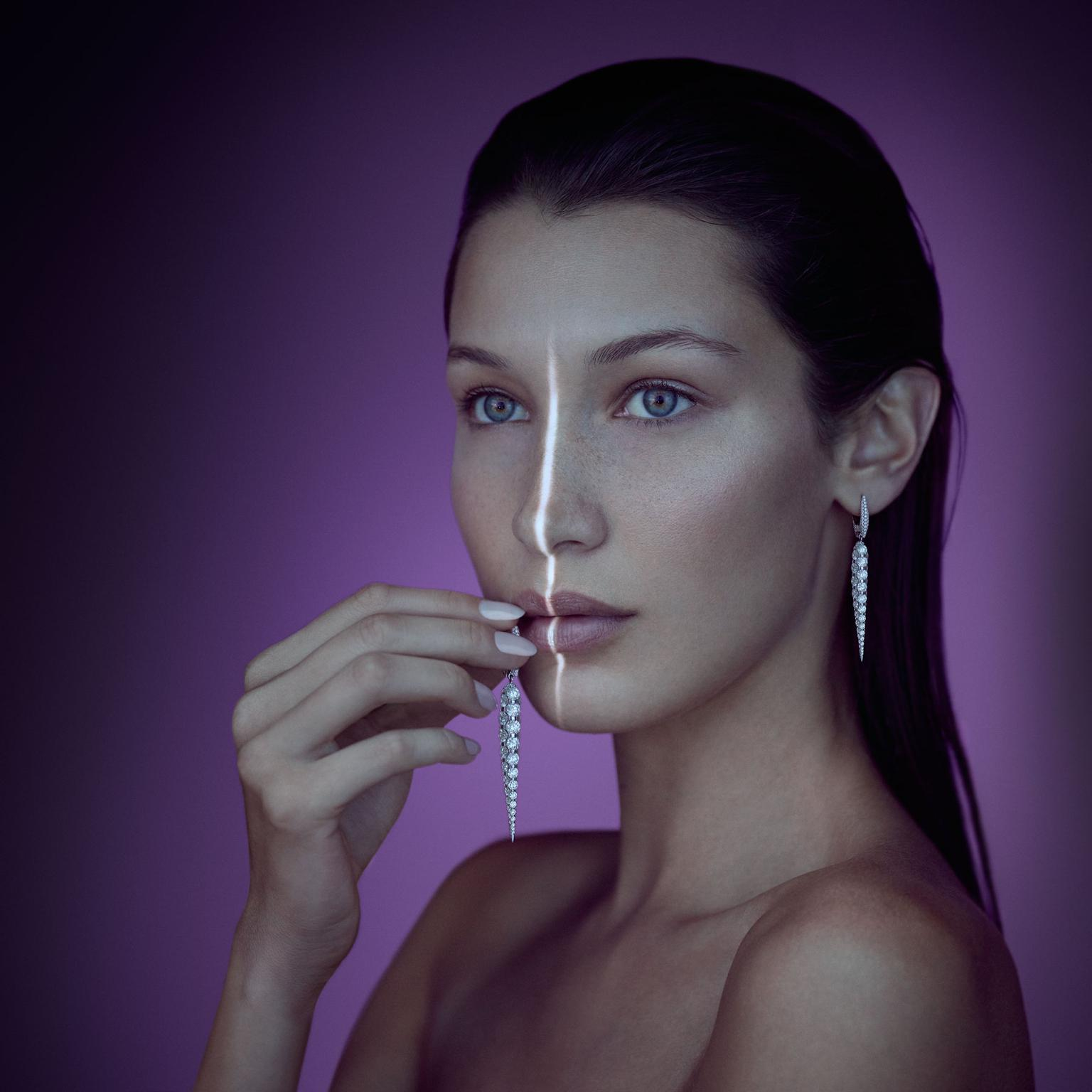 Bella Hadid wearing Boghossian Les Merveilles drop diamond earrings