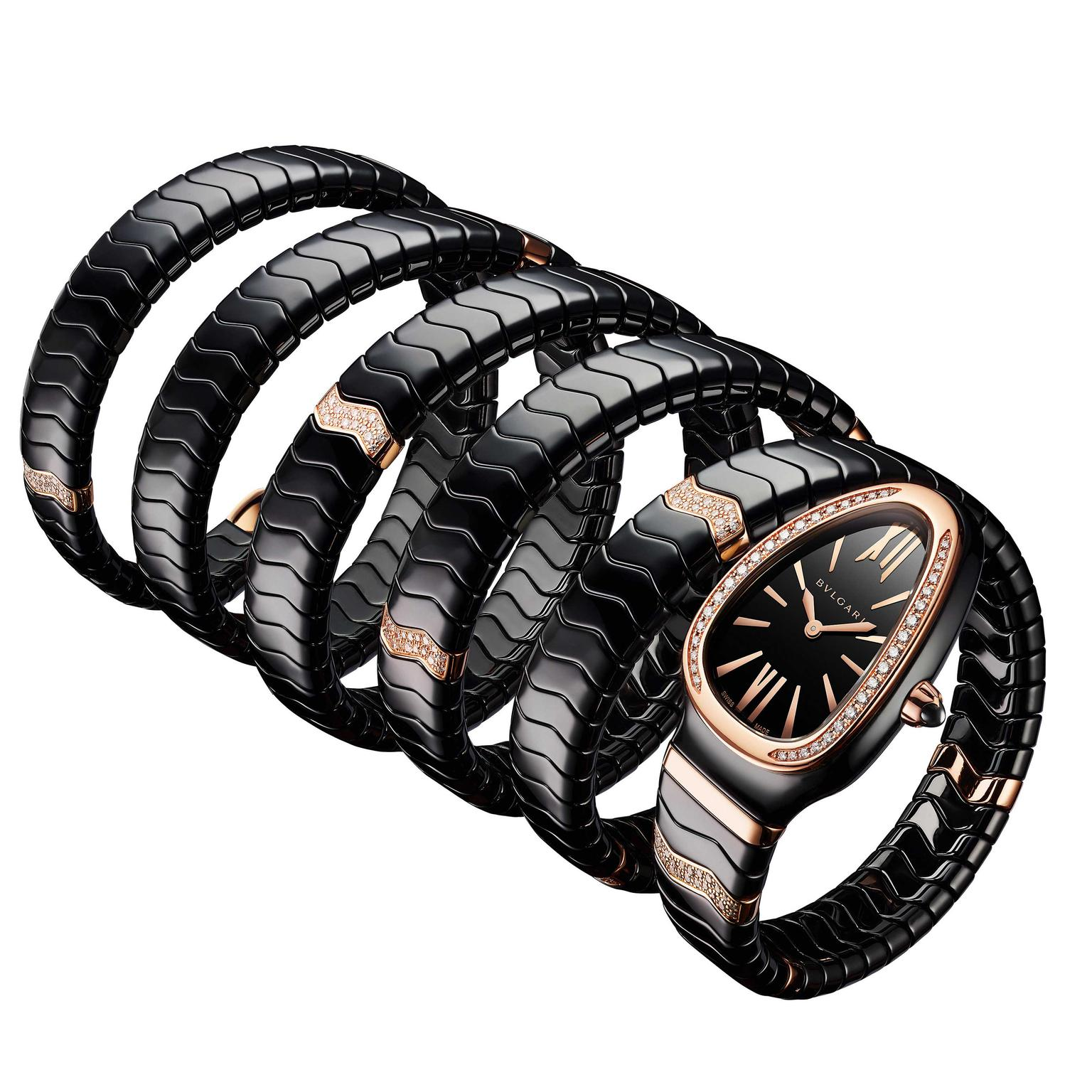 Bulgari Serpenti Spiga Ceramica black ceramic ladies watch five coils