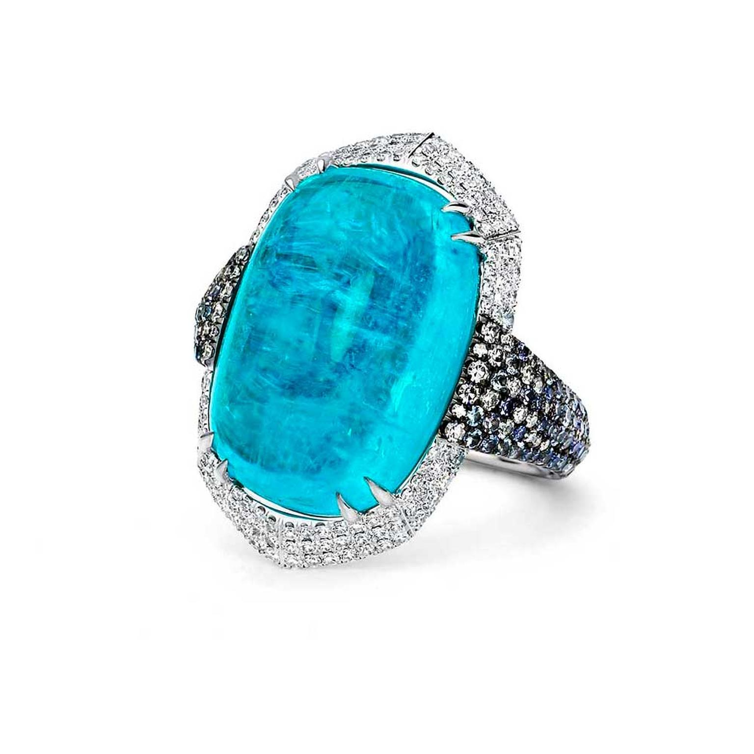 Martin Katz Paraíba tourmaline and white diamonds ring