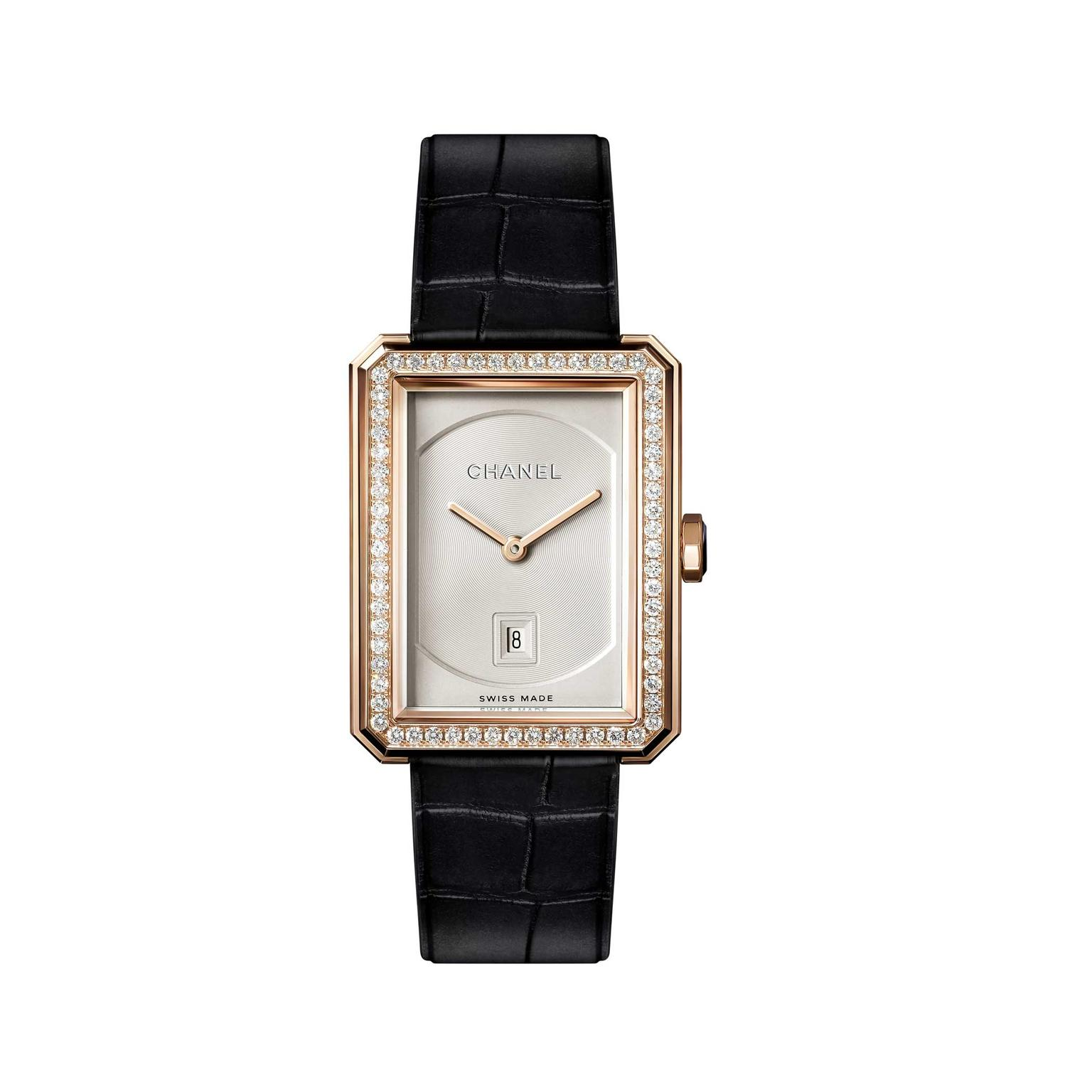 Chanel Boyfriend beige gold quartz watch with diamonds and date window
