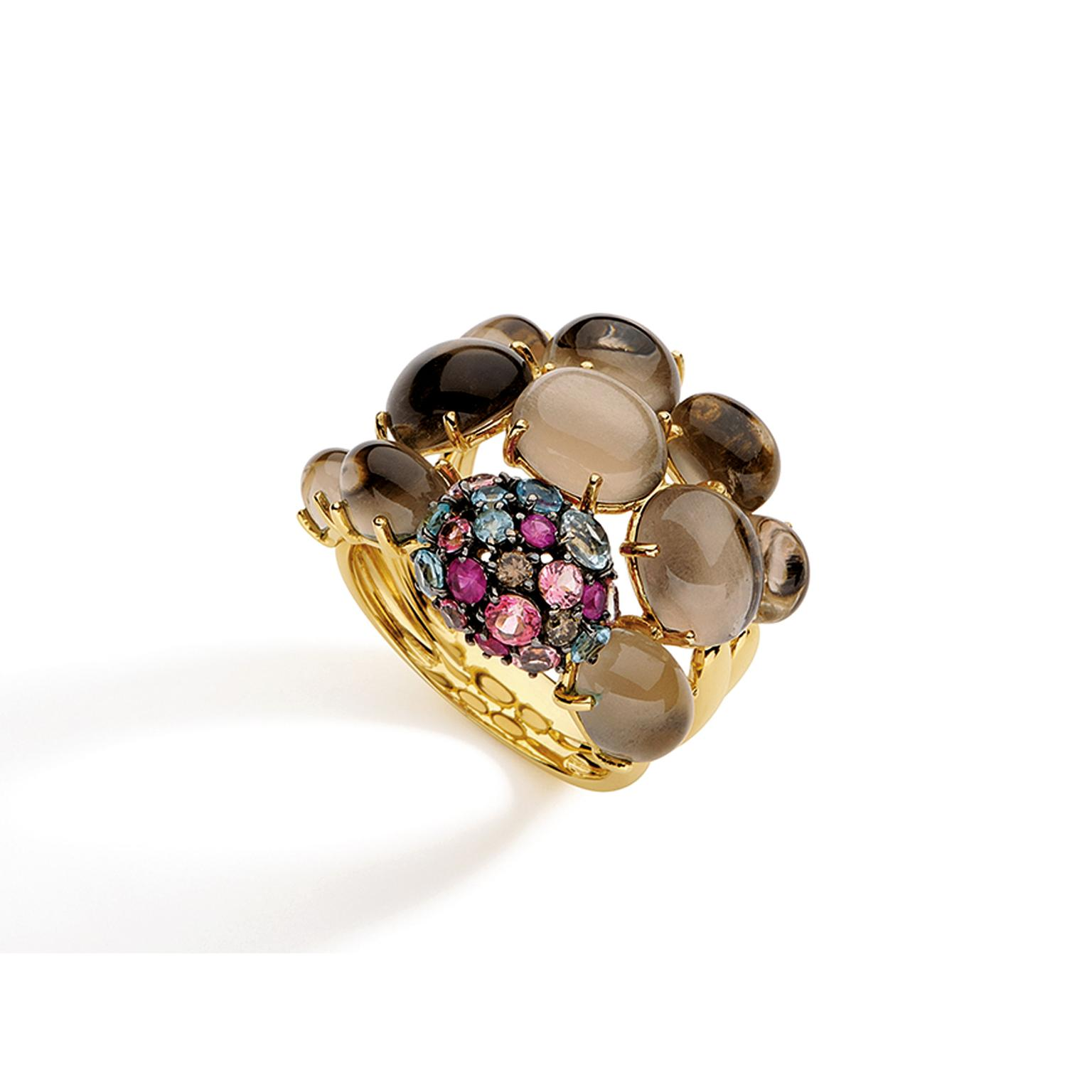Brumani Baobab smoky quartz ring with coloured gemstones
