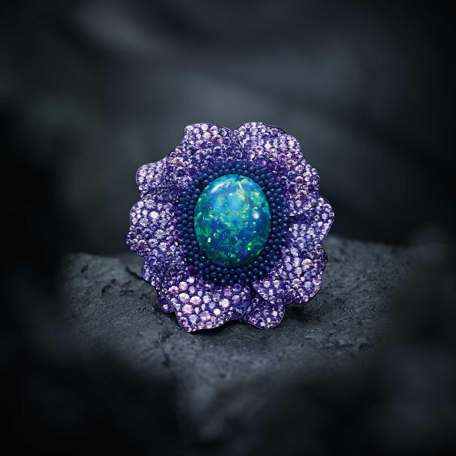 Chopard Fleurs d'Opales ring with purple sapphires