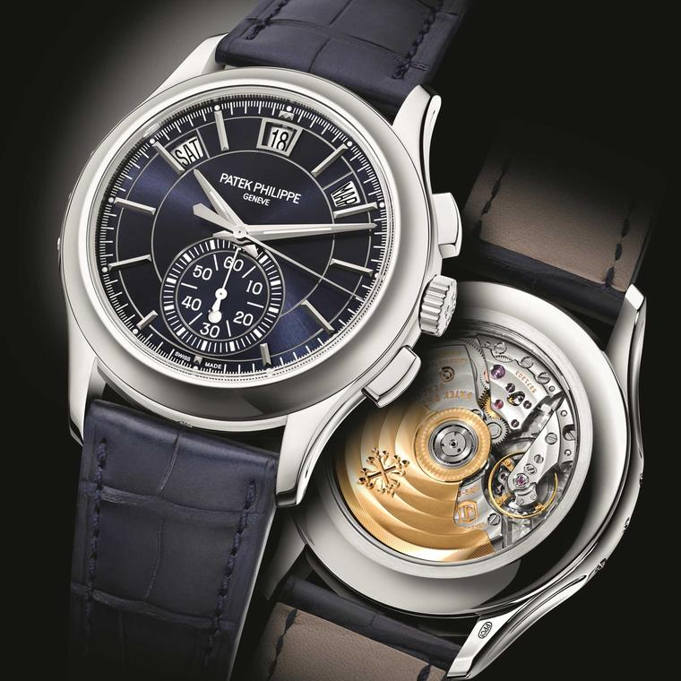 Patek Philippe Annual Calendar Chronograph 5905P blue dial front and back