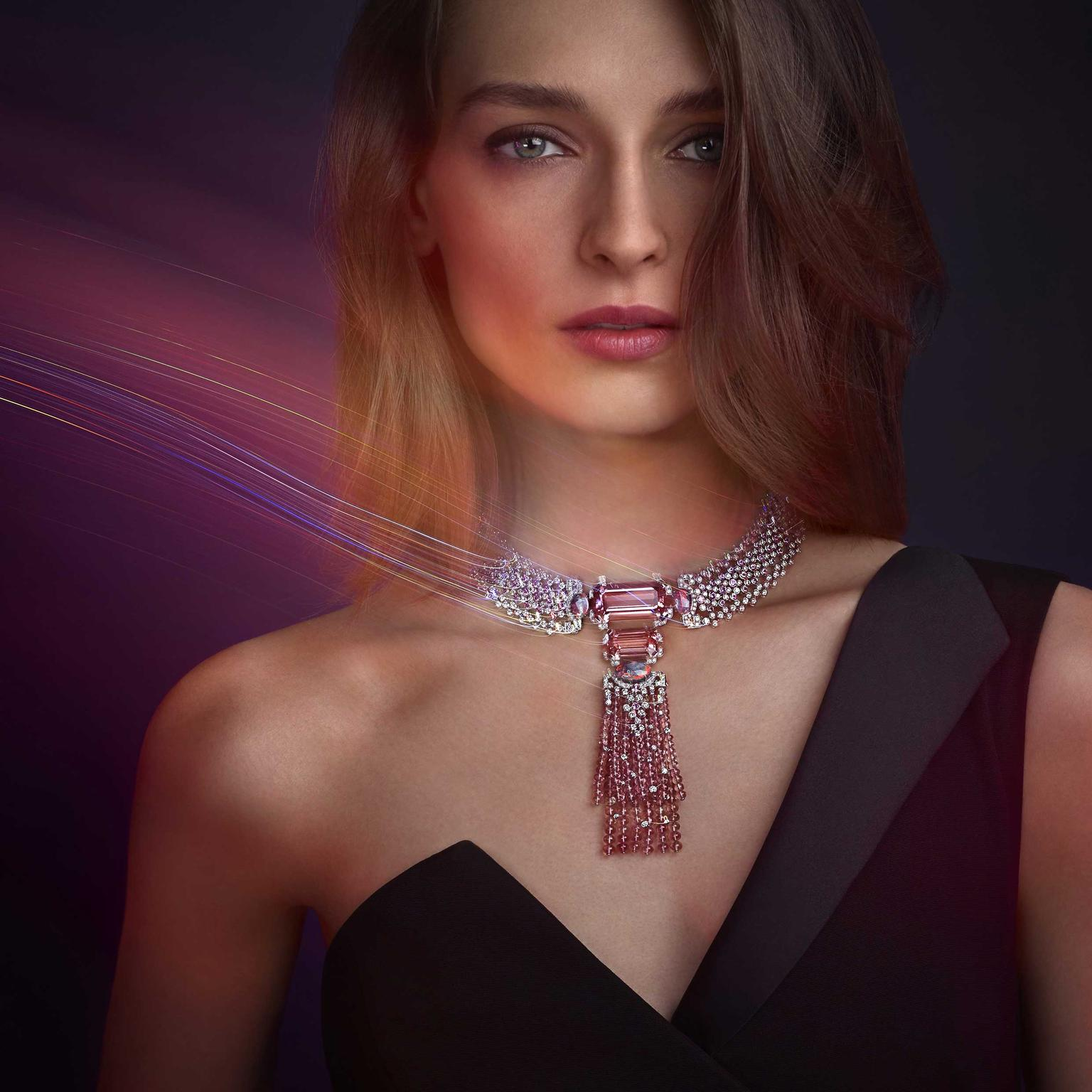 Cartier Yoshino necklace with morganite, opals, tourmalines and pink sapphires from Coloratura collection 2018