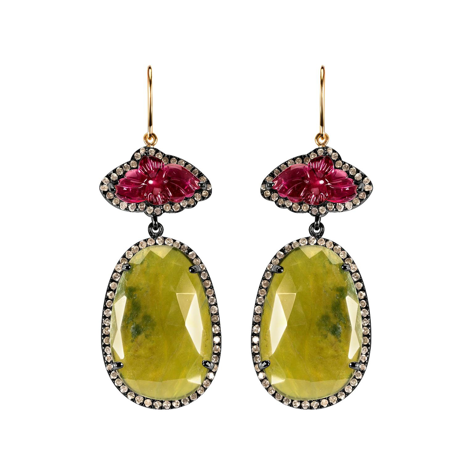 Arya Esha vasonite, tourmaline and diamond drop earrings