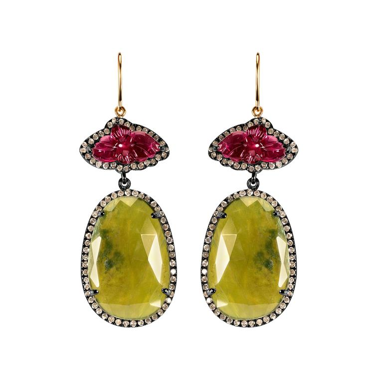 Daliah vasonite drop earrings with pink tourmalines