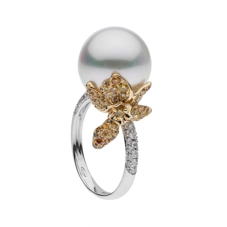 Autore Orchid Orange Blossom South Sea pearl ring