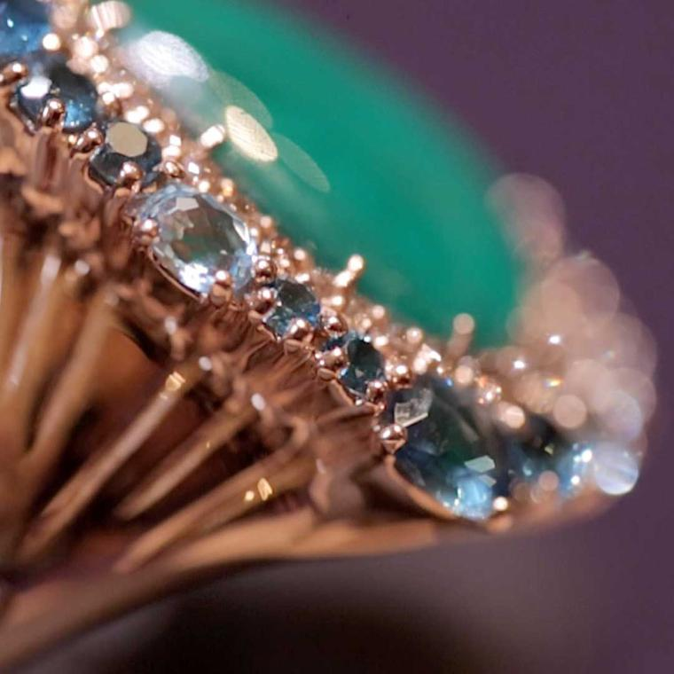 Rodney Rayner Treasure Island ring set with an emerald, champagne diamonds and blue topaz