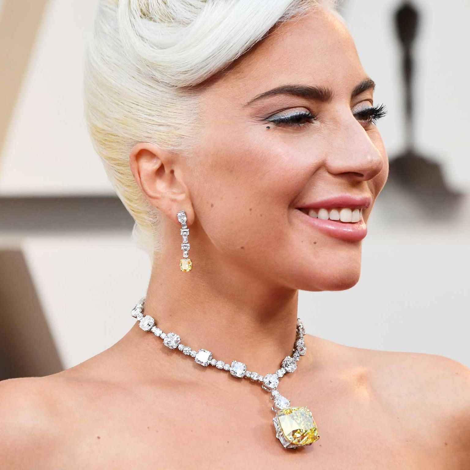 Lady Gaga Oscars close up Tiffany diamond GettyImages