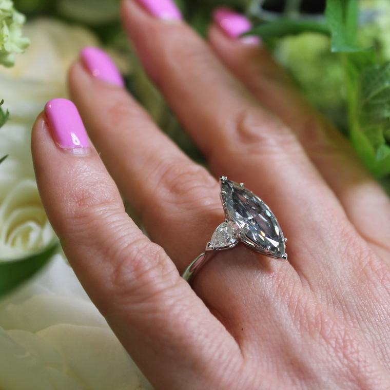 4.27 carat marquise-cut Fancy grey diamond engagement ring
