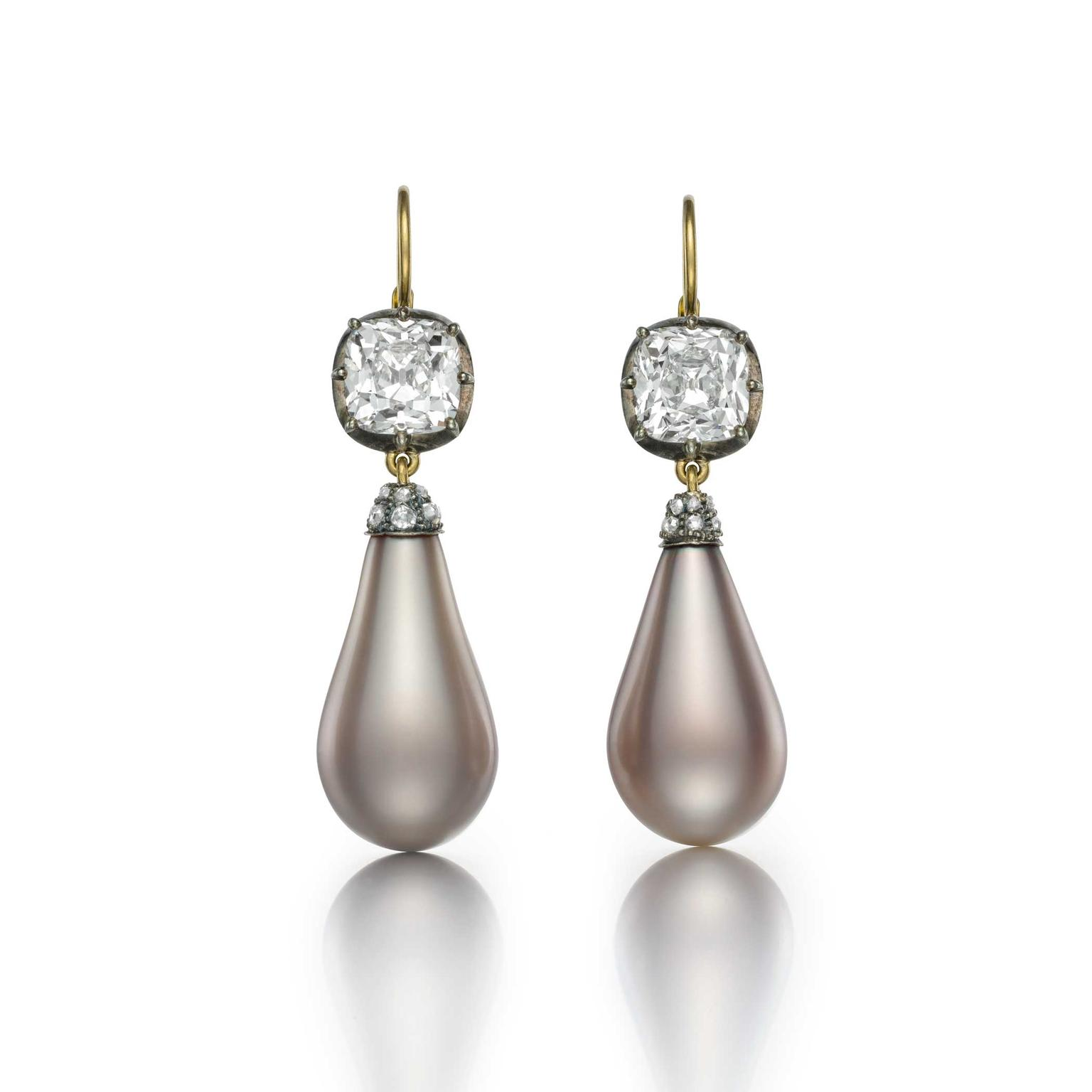 Empress Eugénie natural grey pearl earrings courtesy of Siegelson
