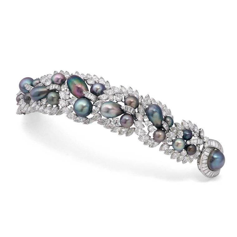 Symbolic and Chase Cartier coloured pearl and diamond bracelet