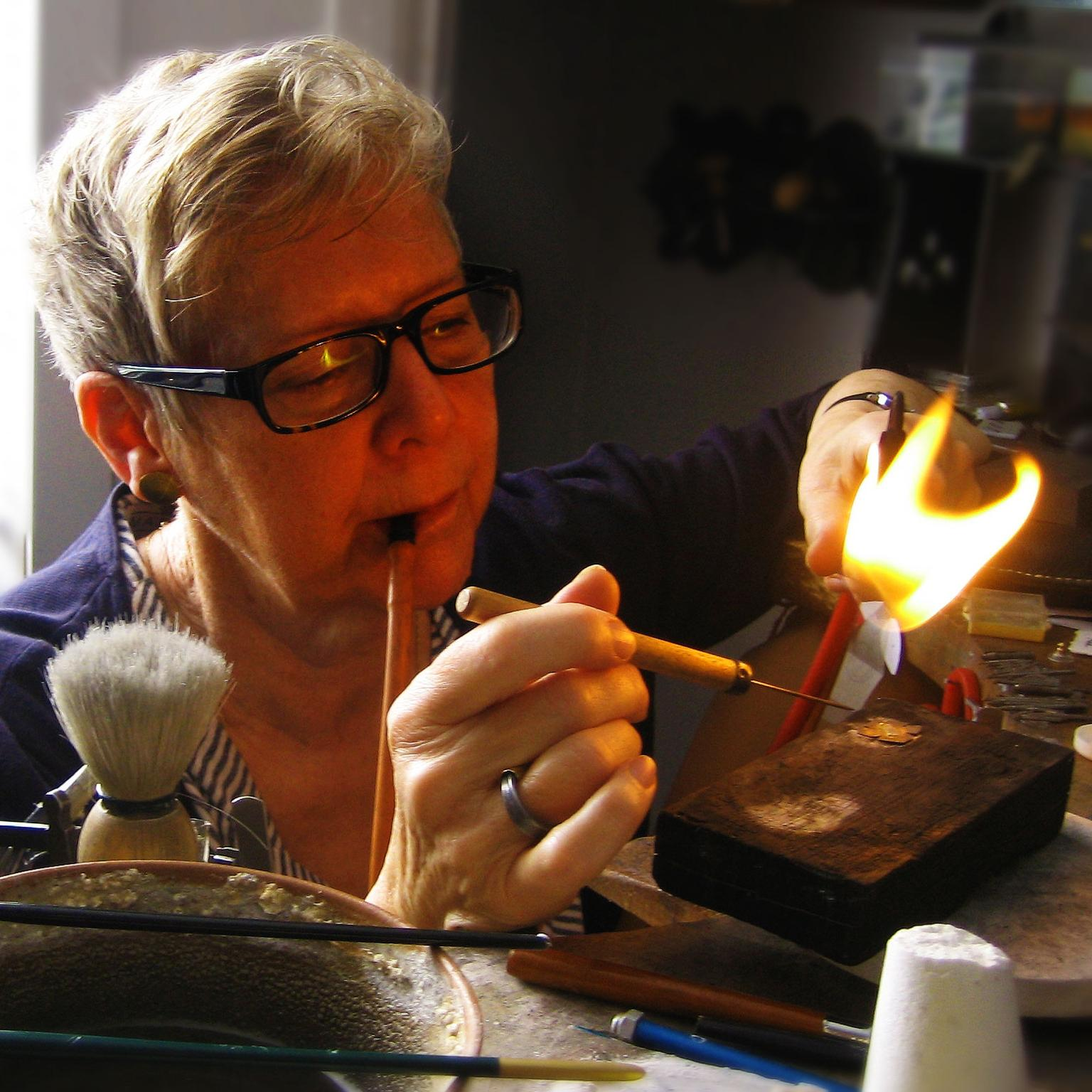Jacqueline Mina soldering in her London studio