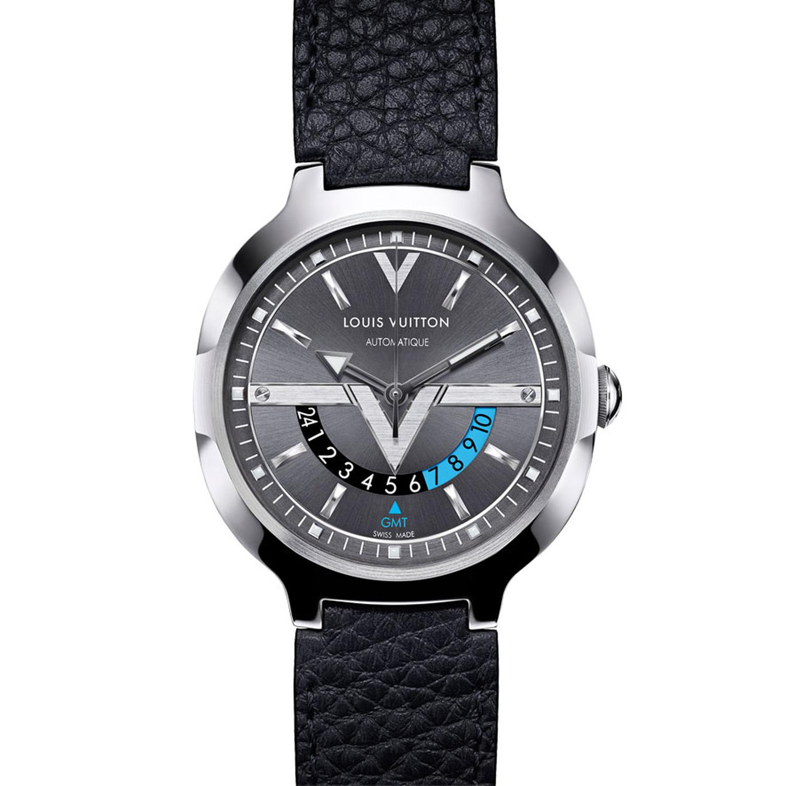Louis Vuitton Voyager GMT watch in steel with a leather strap