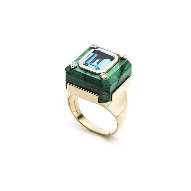 Kara Ross small Cava ring with malachite base and blue topaz