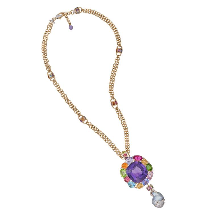 Margot McKinney Amethyst Pendant featuring a myriad of gemstones