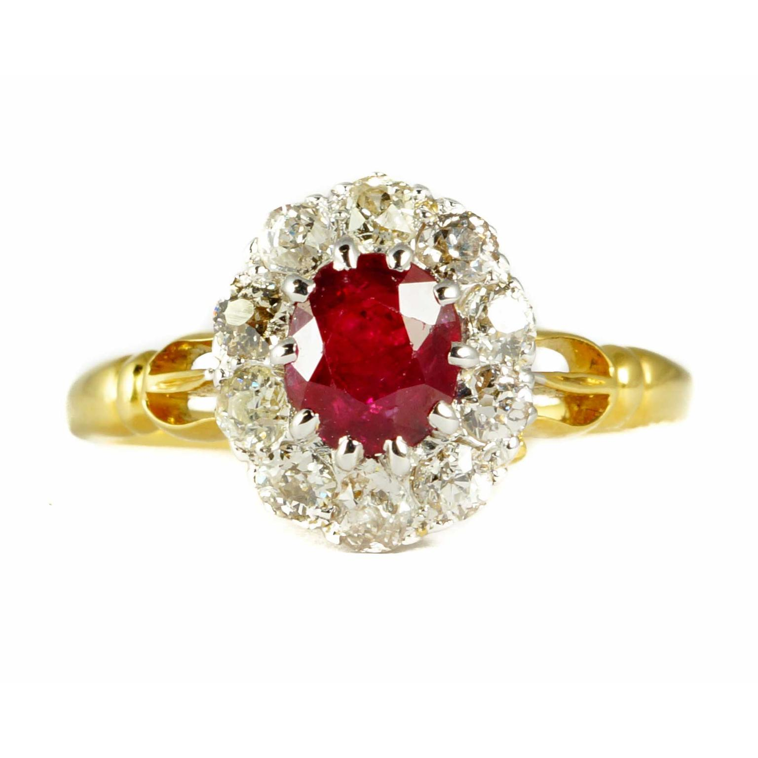 Butter Lane Antiques Victorian cluster ring with rubies and diamonds