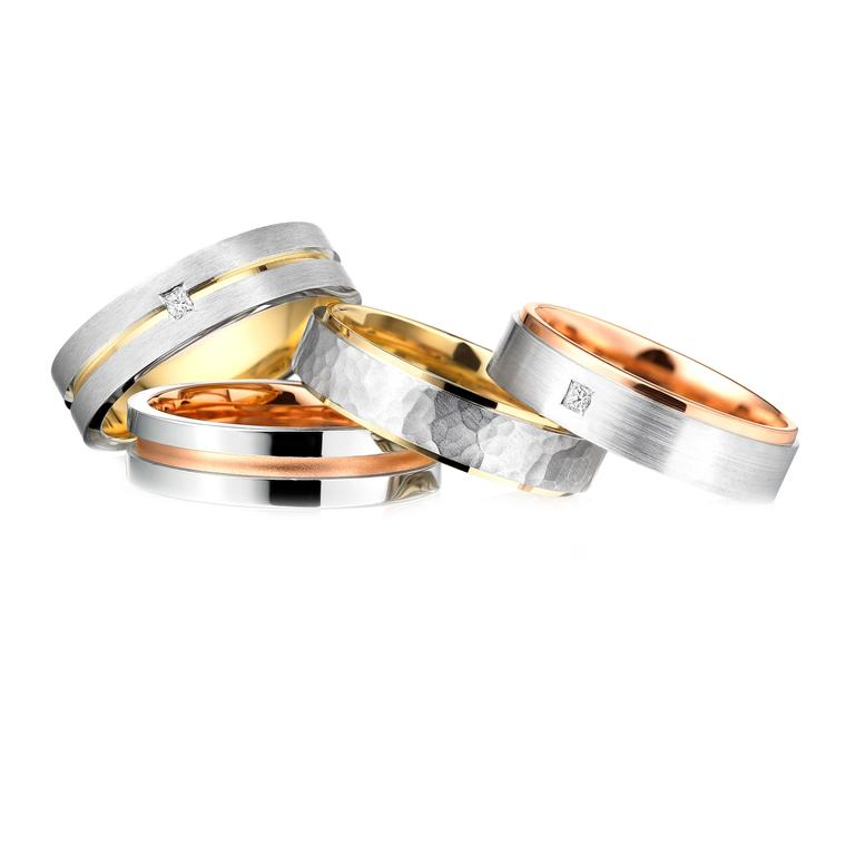 Charles Green two-tone precious metal wedding rings