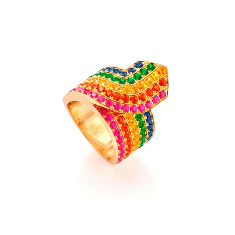 Rainbow Tron multicoloured sapphire ring