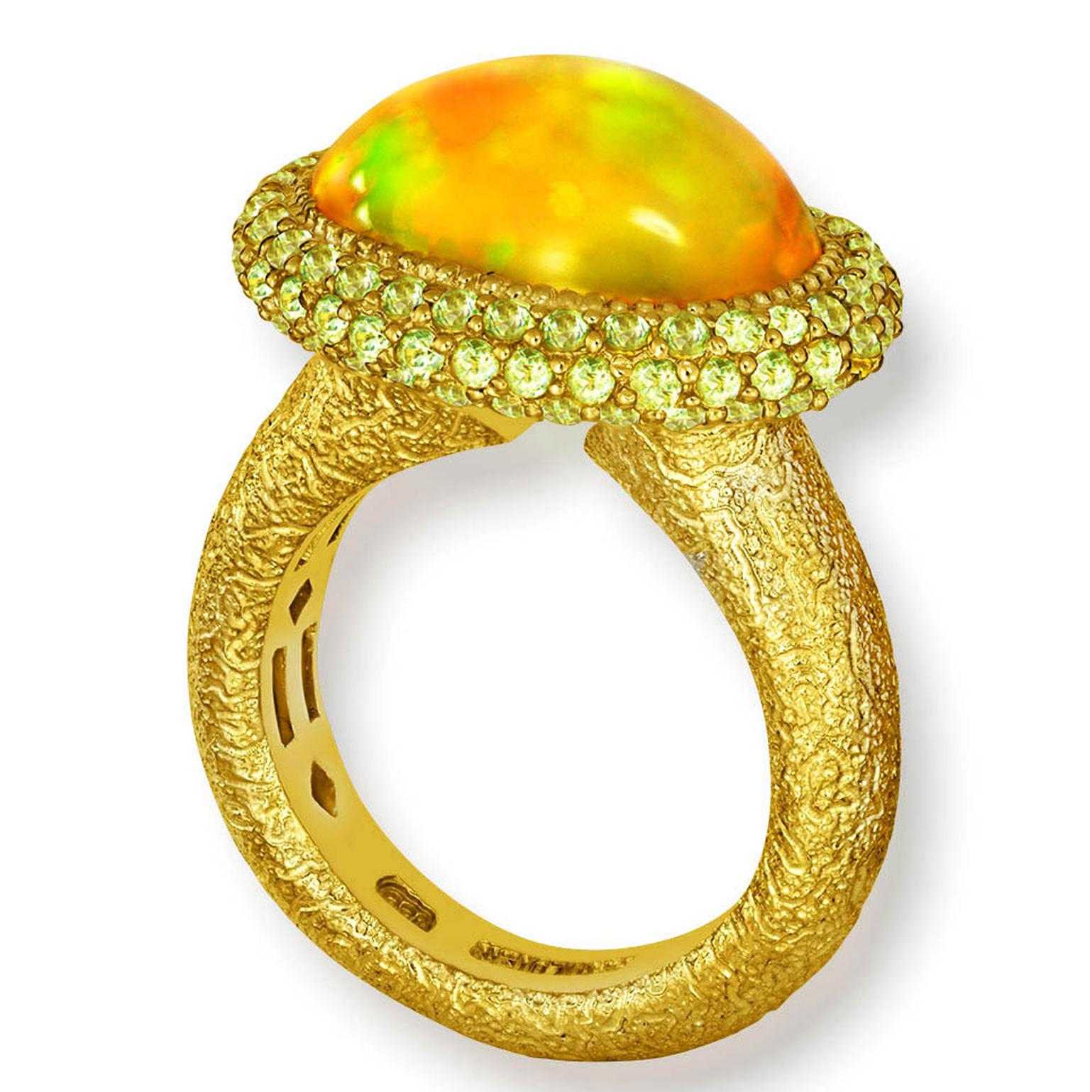 Cocktail ring with opal and peridot from Alex Soldier