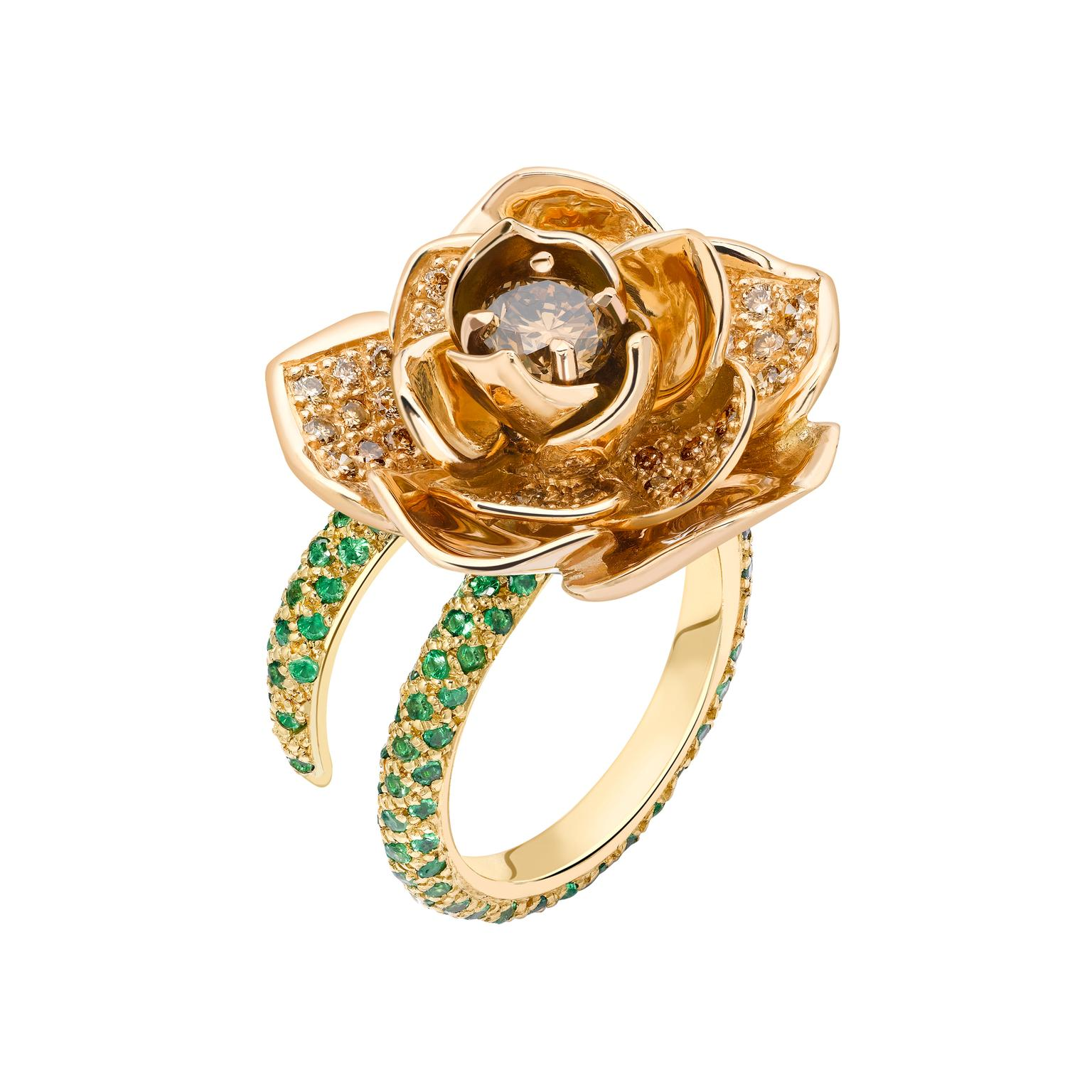 Ana de Costa Lotus Bud diamond and tsavorite ring