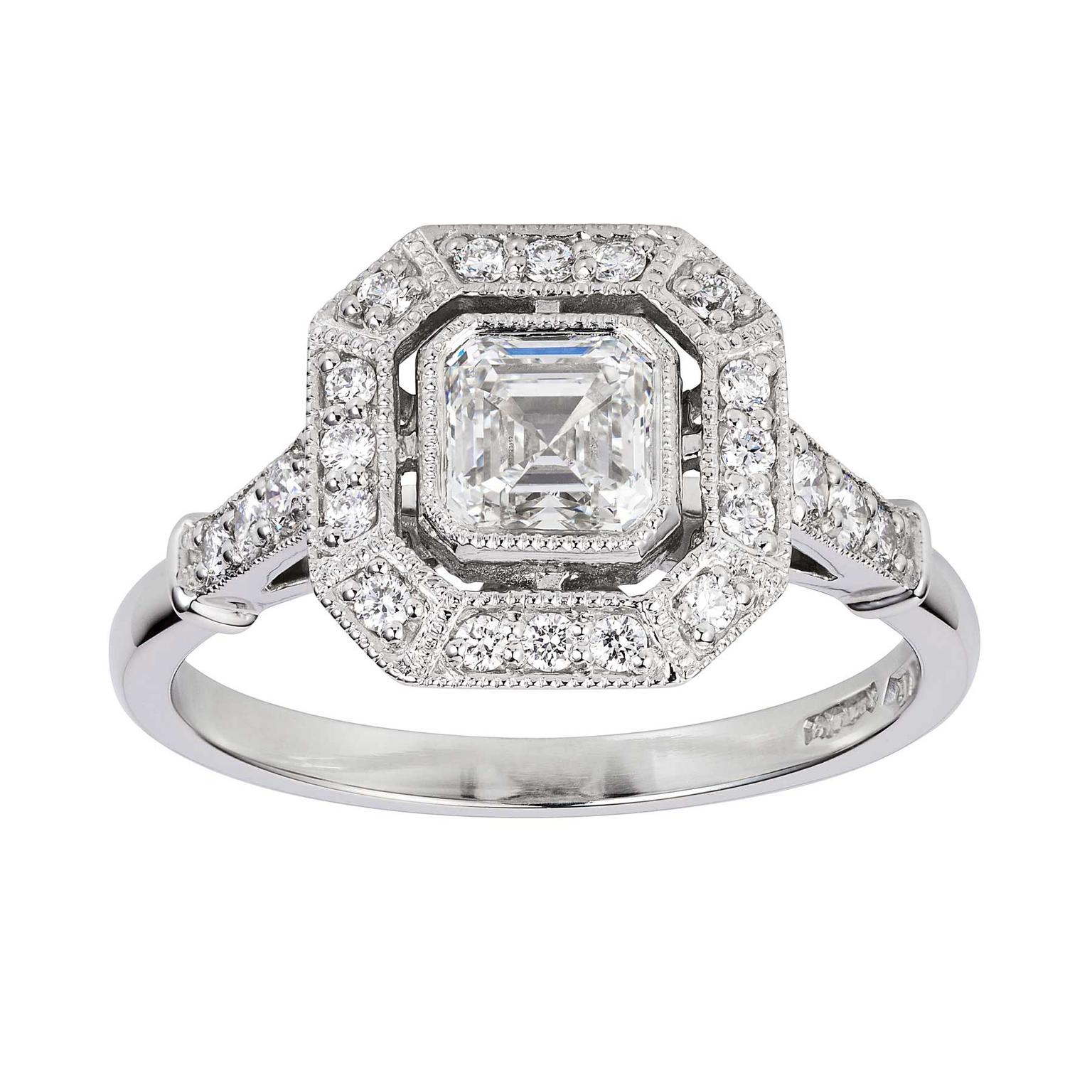 rings engagement amouria square halo diamond millgrain
