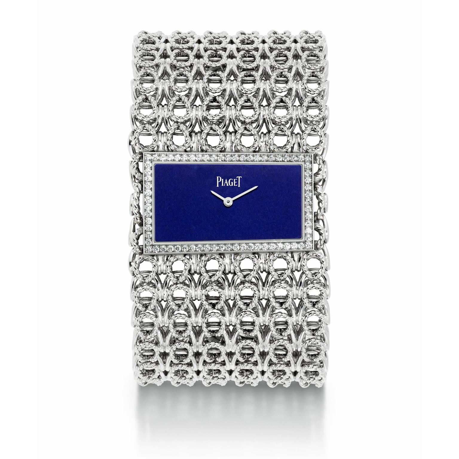 Piaget cuff watch in white gold with a lapis lazuli dial