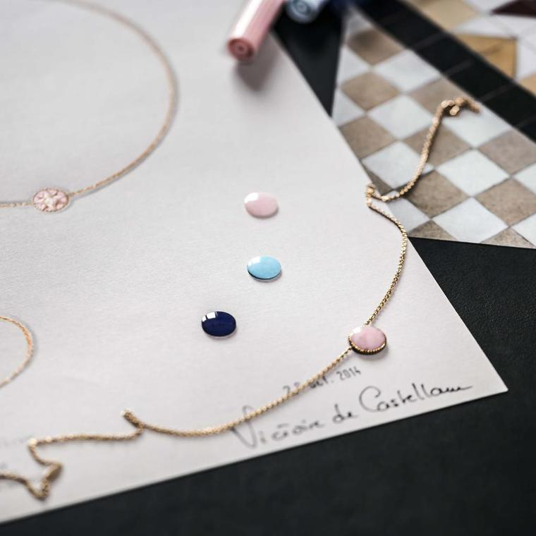 Smooth circles of lapis lazuli, turquoise and pink opal sit atop a gouache of the new Rose des Vents jewels from Dior, ready to set into the reverse of a bracelet or necklace.