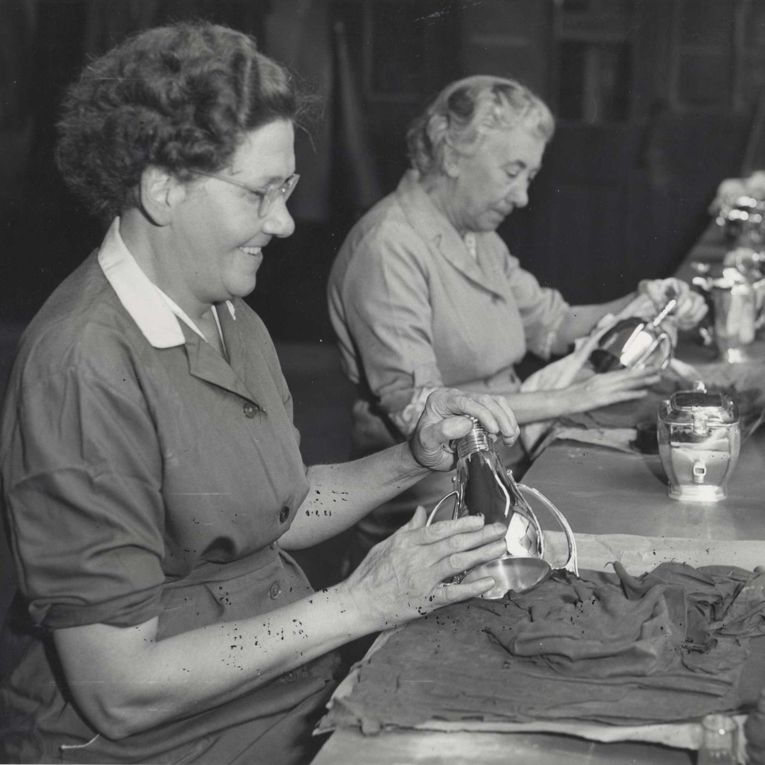 Mappin & Webb final hand polishing of silver 1959