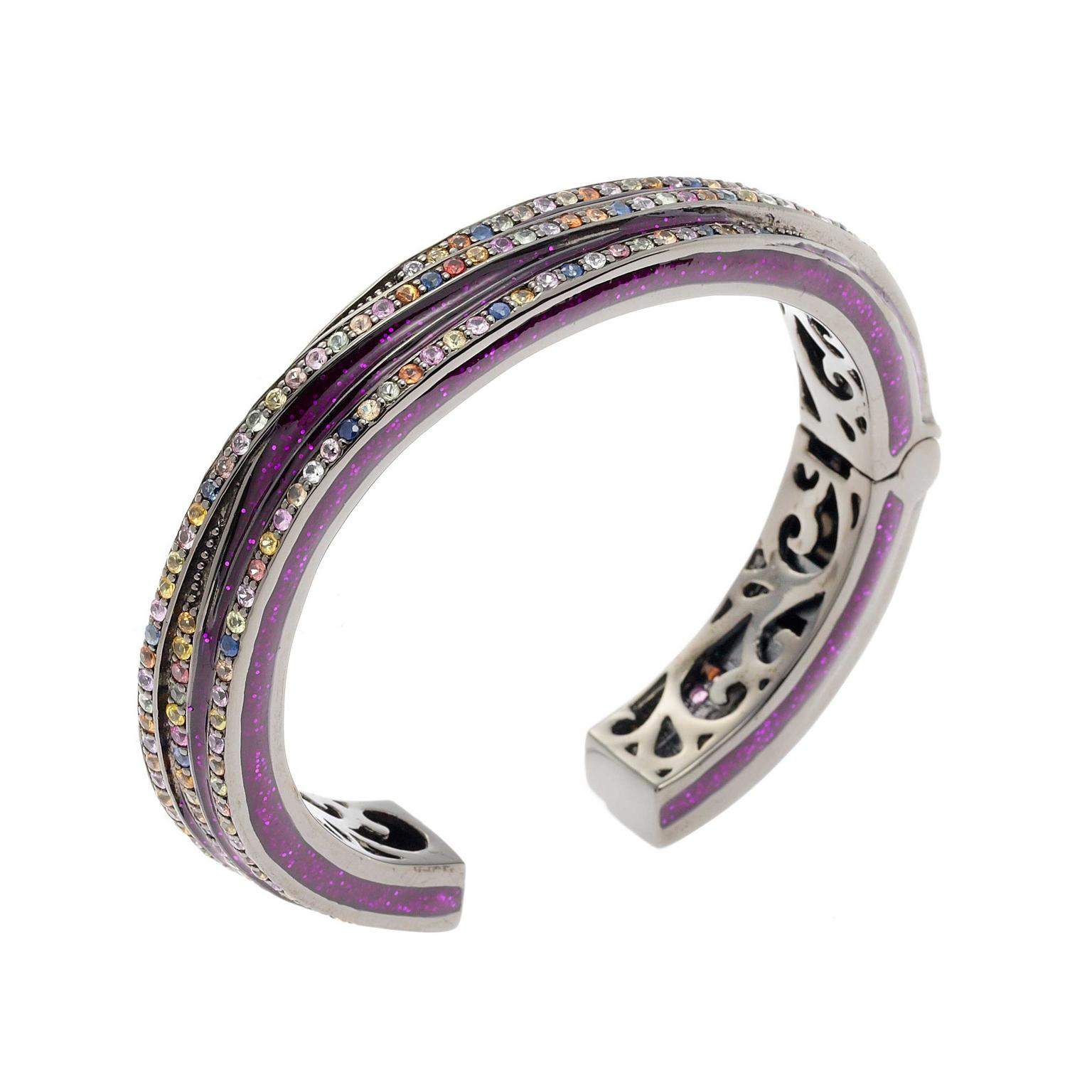 Matthew Campbell Laurenza silver purple glitter bangle set with sapphires in black rhodium