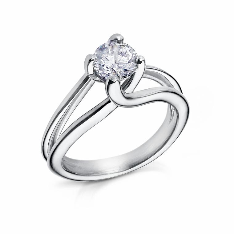 Arctic Flowers crossover brilliant-cut diamond engagement ring