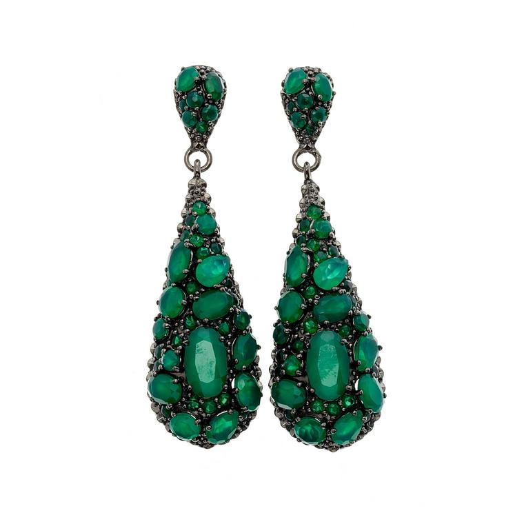 Matthew Campbell Laurenza silver green agate earrings