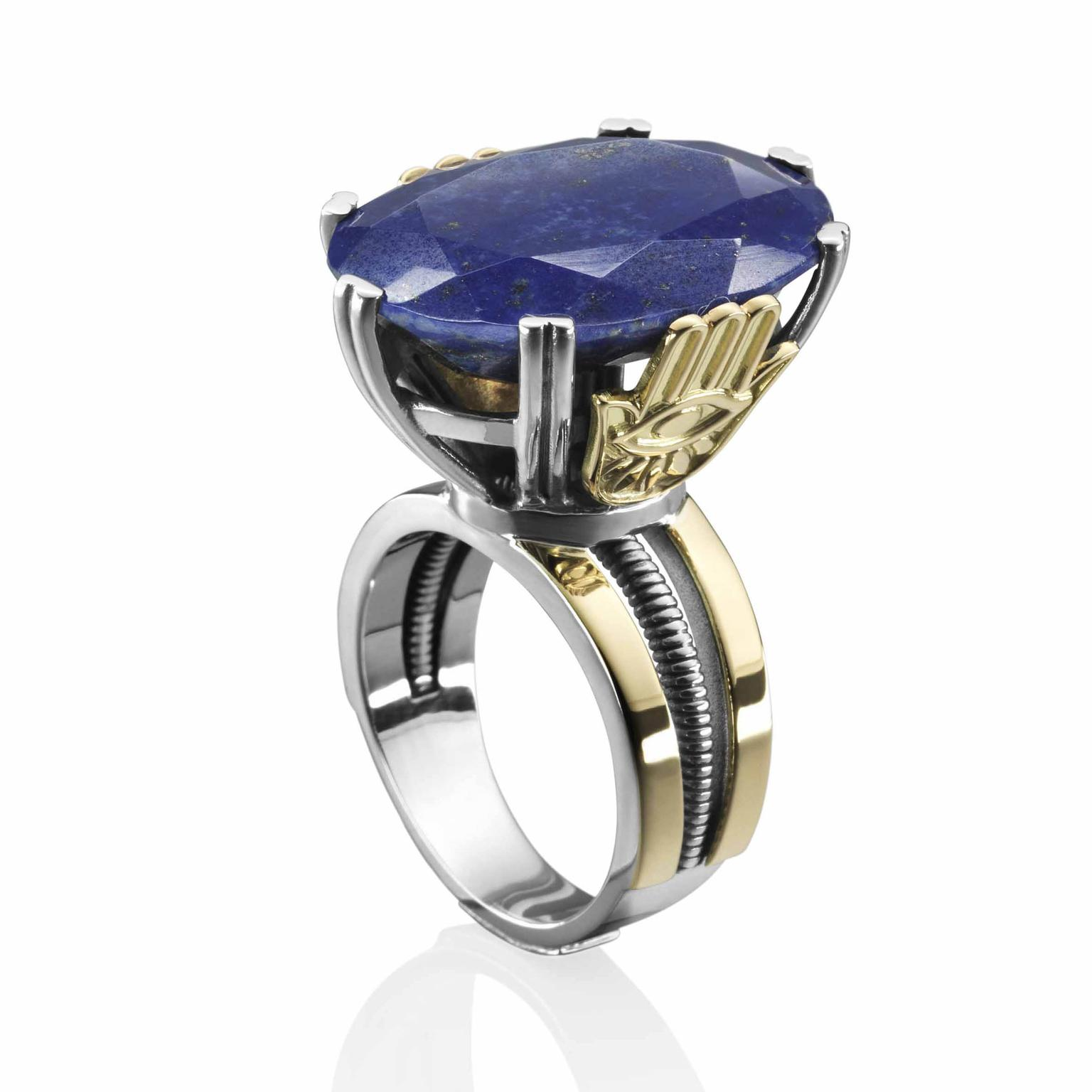 Talisman inspired ring set with Royal Blue lapis lazuli by Azza Fahmy