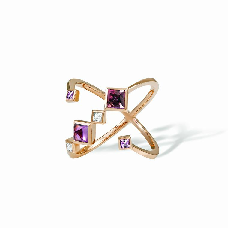 Ruifier Spectrum Viola gold, sapphire and amethyst ring