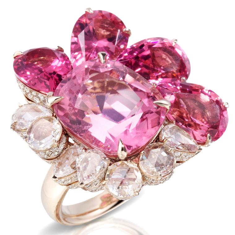 Pom Pom London pink tourmaline and diamond ring