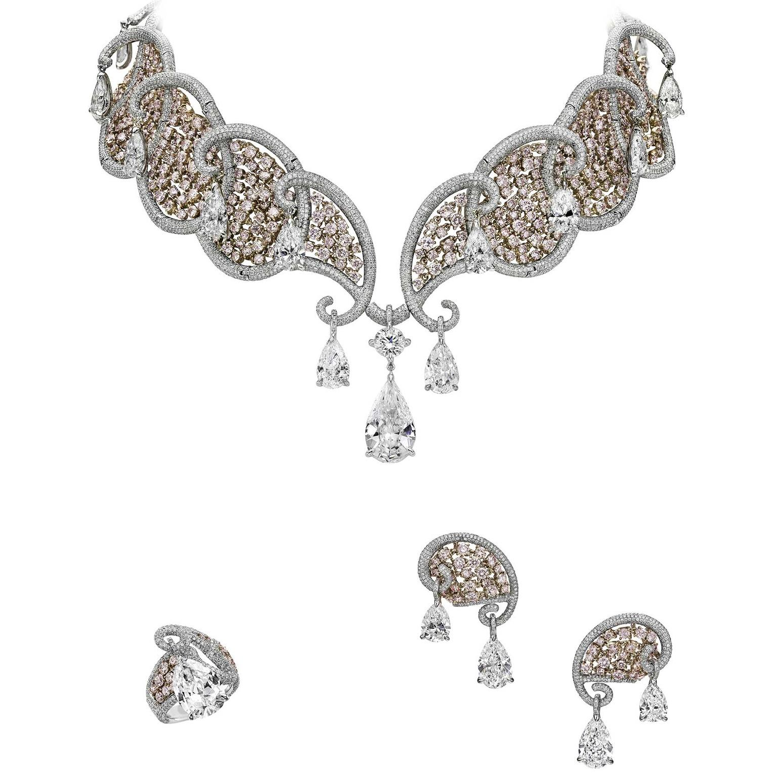 Boghossian pink and white diamond necklace, ring and earrings from the Ballet Oriental collection