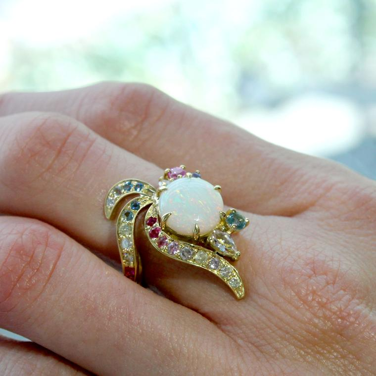 Dalia Daou Phoenix collection white opal ring