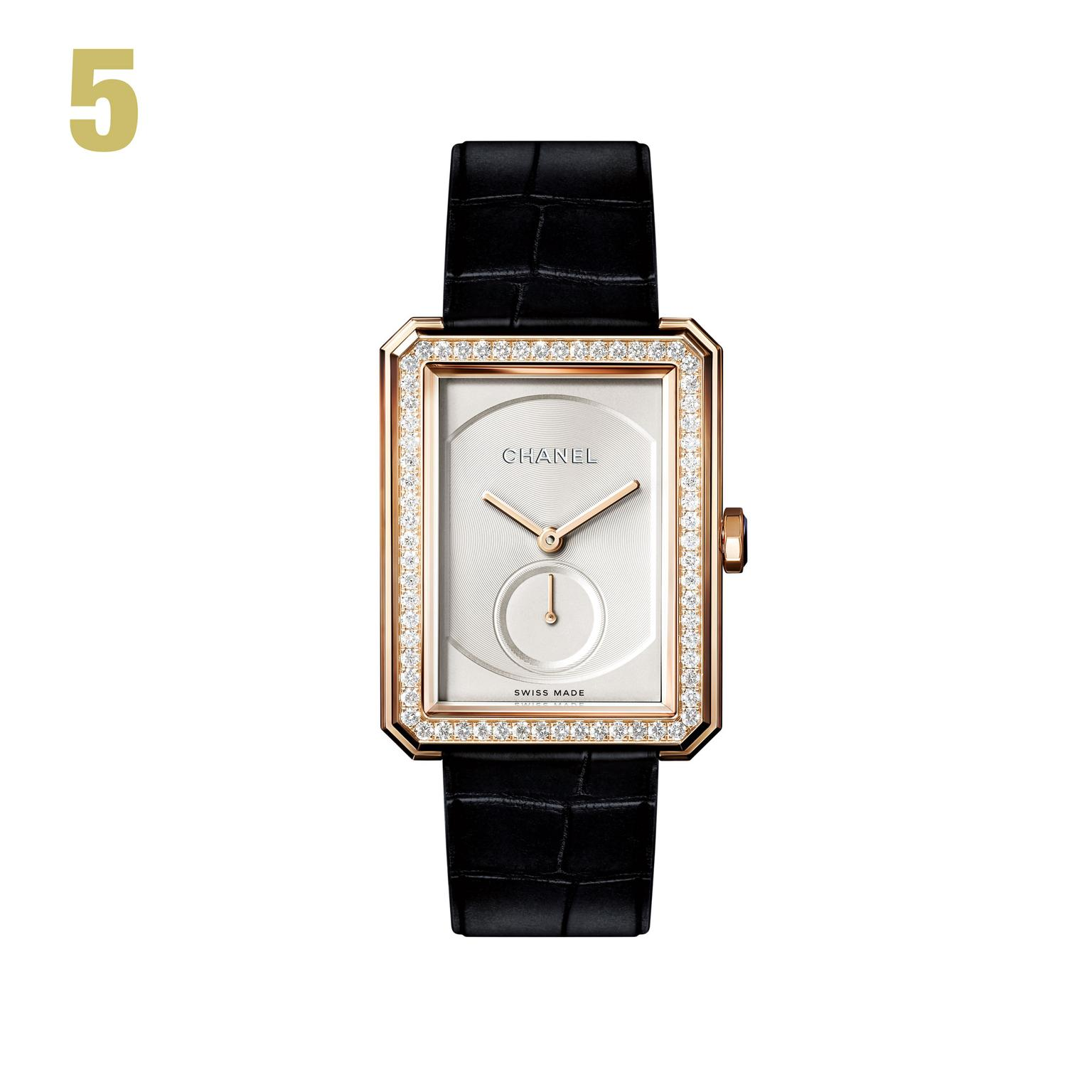 5 Chanel diamond-set medium-sized Boy.Friend watch