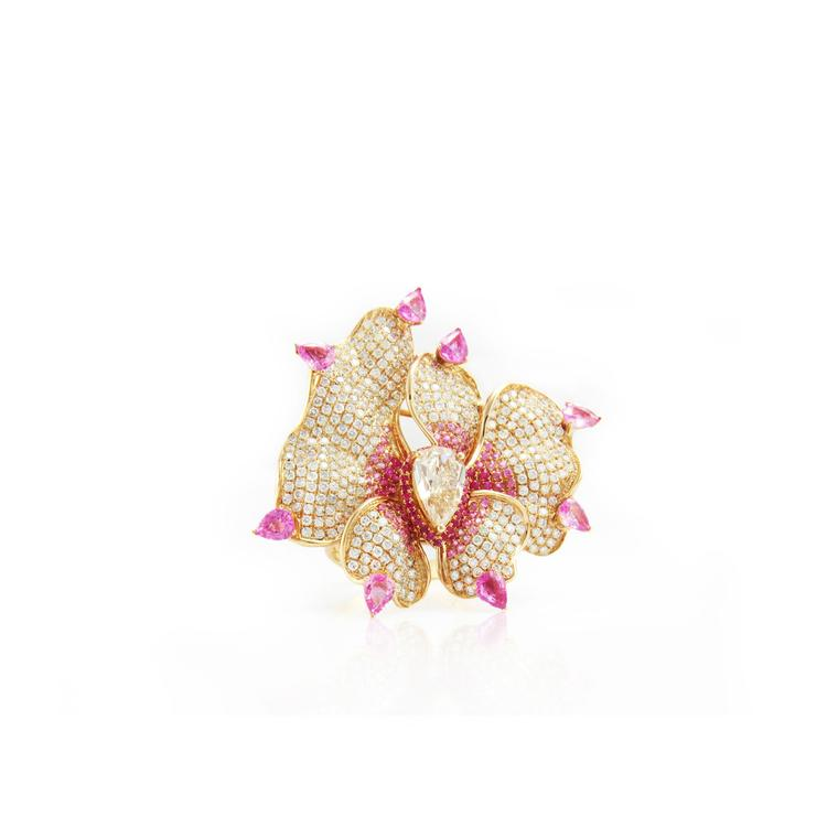 Fei Liu jewellery Orchid Flower ring brooch