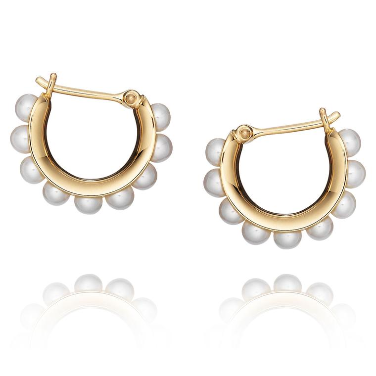 Melanie Georgacopoulos pearl earrings in 18ct yellow gold set with 3mm white Freshwater pearls