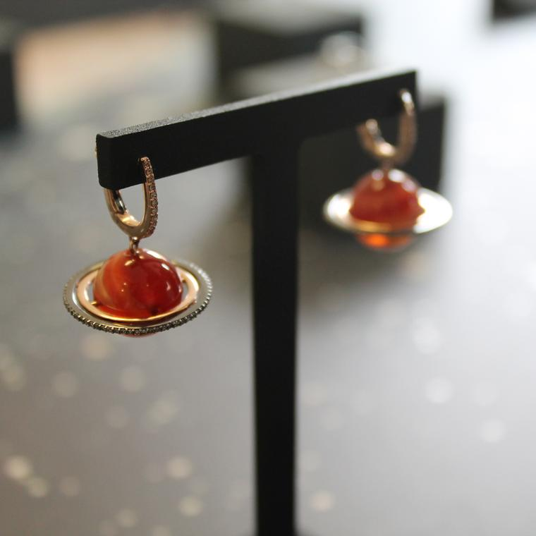 Astronomy Saturn agate earrings