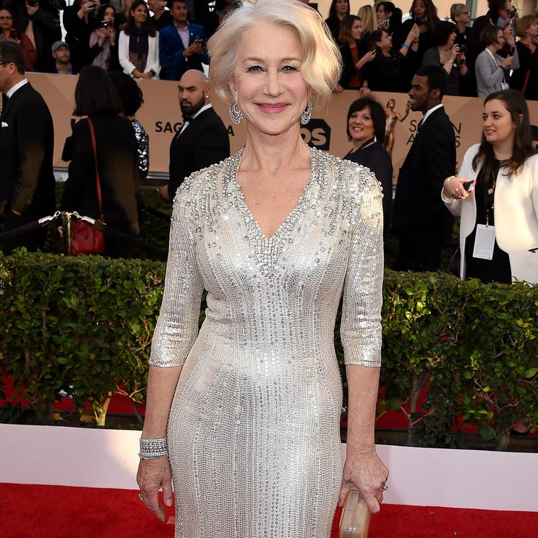 Helen Mirren wearing Harry Winston red carpet jewelry